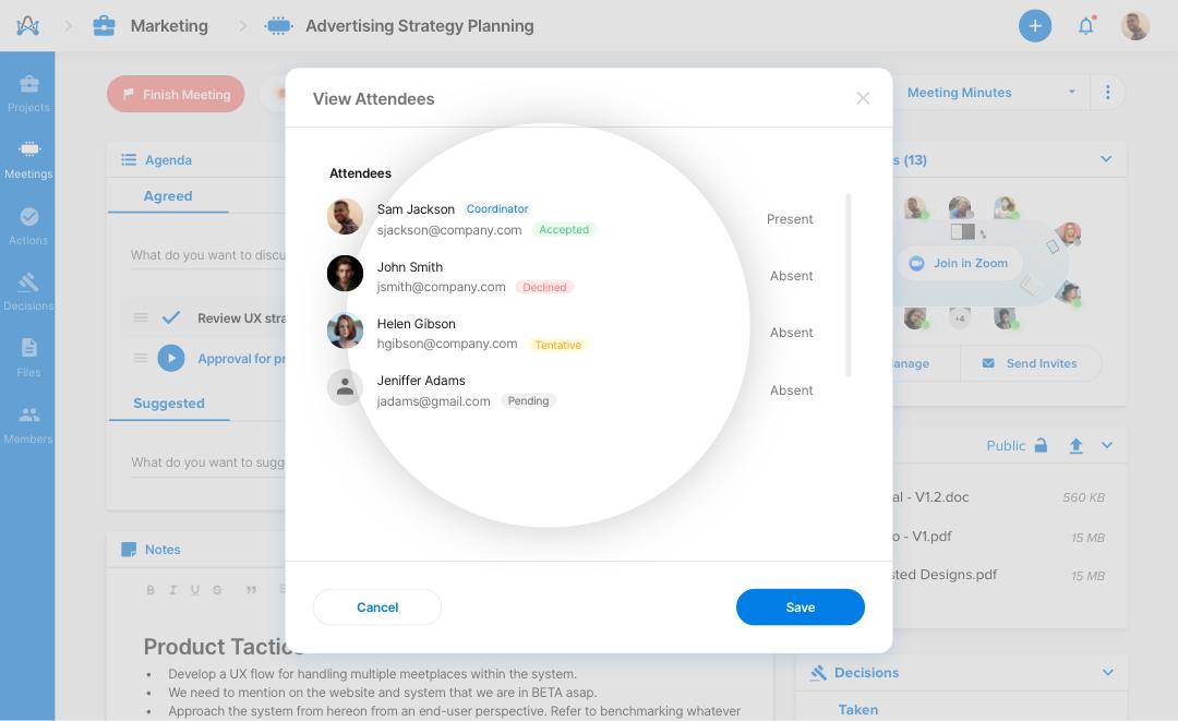 Attendees Response - meeting management software