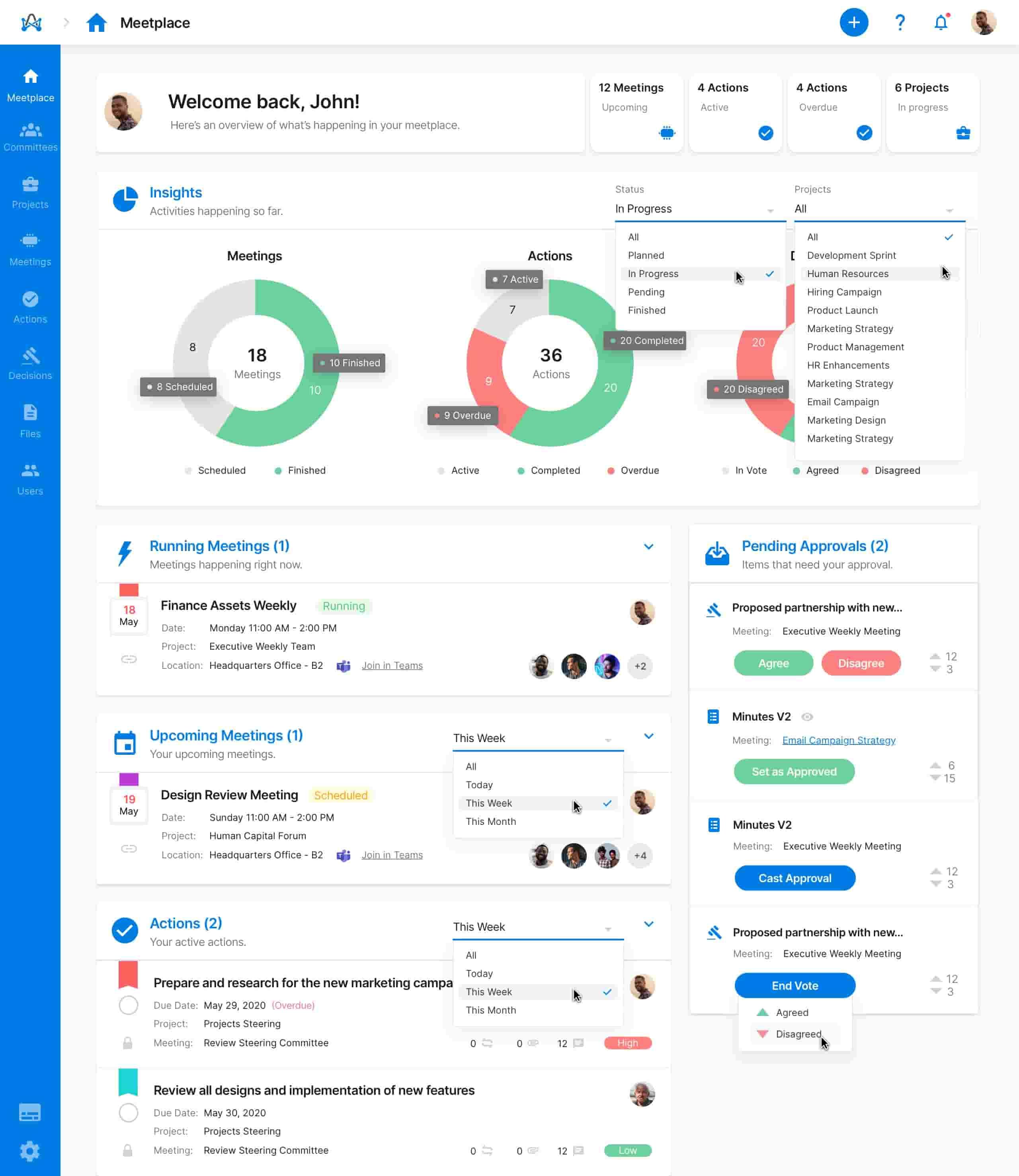 Screenshot from adam.ai - Meetplace dashboard
