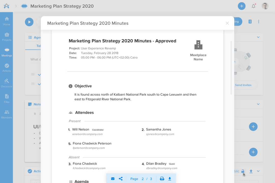 Screenshot from adam.ai - sharing meeting minutes