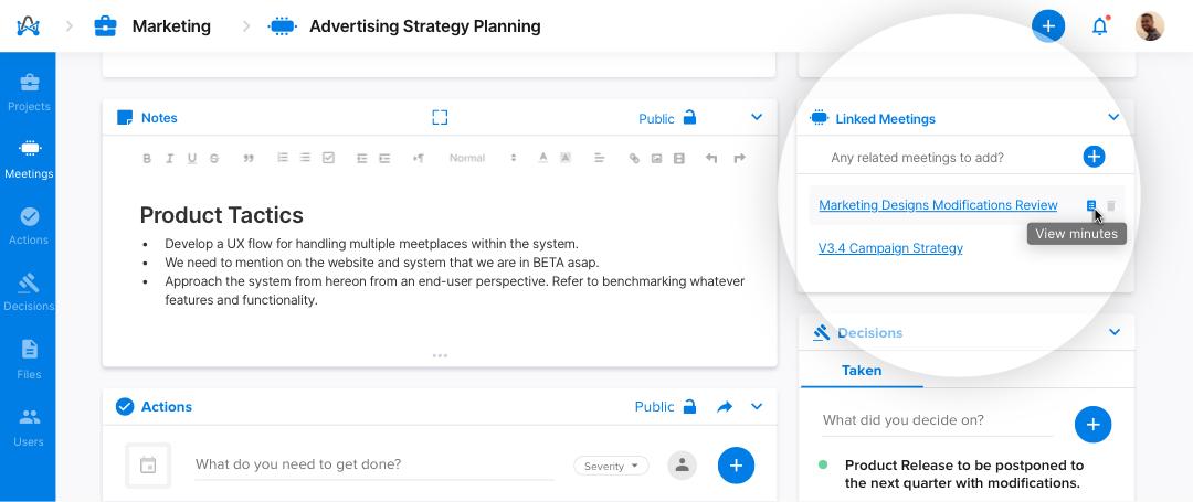 Screenshot from adam.ai - linked meetings