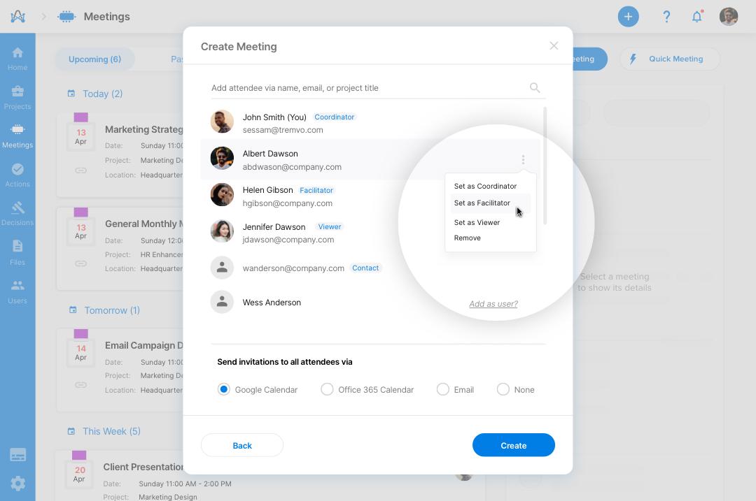 Screenshot from adam.ai - multiple meeting facilitators