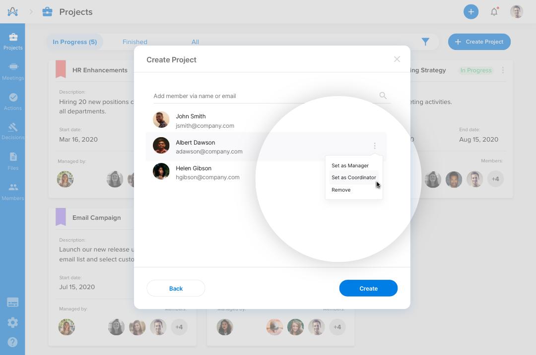 Screenshot from adam.ai - multiple project coordinators