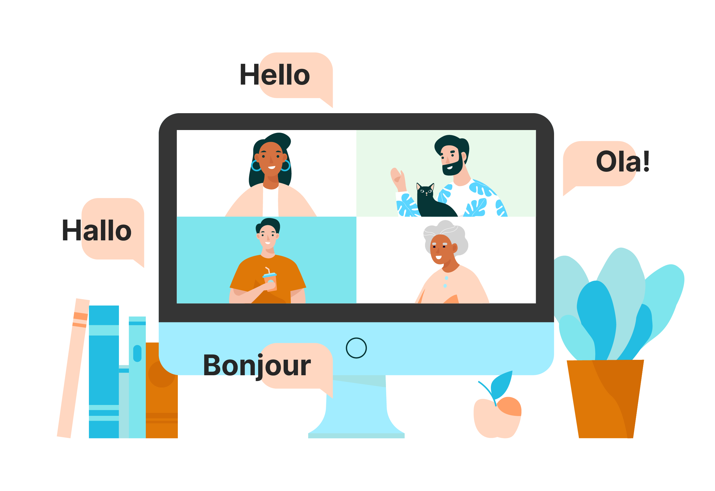 online remote meetings in different locations
